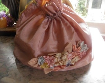 Antique French Pink Silk Moire' Bag with Flowers and a Yellow Interior