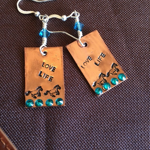 Sterling Horse Earrings Copper Dangle Handcut Stamped Running Horse Jewelry Swarovski