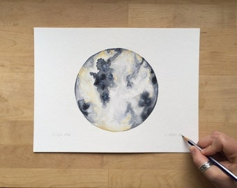 Golden Moon - 9x12 Watercolor Painting on Paper | Cosmos | Moon Painting | Galaxy | Universe