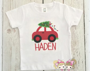 Boys Christmas Car with tree- Red Car/ Beetle Bug- Custom Embroidery- Boys Christmas Shirt
