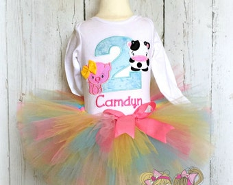 Farm themed birthday outfit - 1st birthday farm outfit - pig and cow tutu outfit - farm themed tutu - cute pig and cow outfit for girls