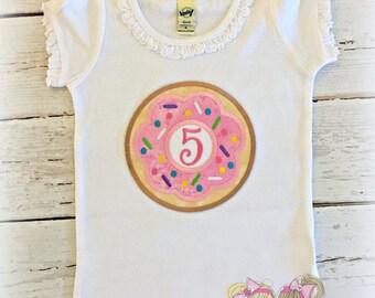 Donut birthday shirt - girls donut shirt - pink donut shirt with sprinkles - personalized donut shirt - donut themed birthday shirt