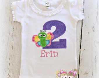 Butterfly Birthday Shirt- Rainbow Butterfly