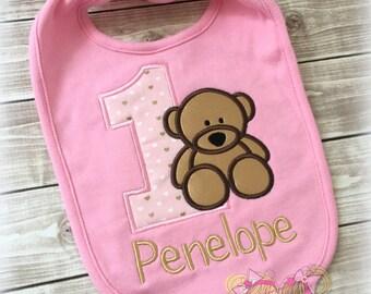 Teddy bear birthday bib - 1st birthday teddy bear bib - pink teddy bear bib - first birthday smash cake bib - custom bib for baby girl