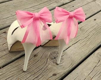 Shoe Clips, Wedding Shoe Clips, Bridal Shoe Clips, Organza Shoe Clips, Bridal Accessories,Light Pink Shoe CLips, Shoe Clips Only
