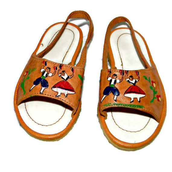 Vintage Leather Baby Sandals Painted with Dancers and Flowers