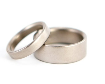 Set of two matte titanium wedding bands. Classic and unique flat rings. Water resistant, very durable and hypoallergenic. (00002_4N7N)