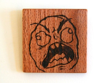 Rage Guy (FFFFFUUUUUUUU) Wood Burned Internet Meme Wall Art