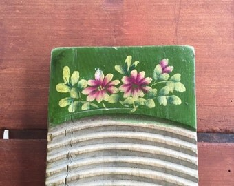 Antique Hand Painted Wooden Washboard with Flowers...Folk Art Chinese Washboards Primitive Laundry Washing Clothes Vintage Rustic Country