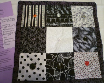 Spiritual Journey Black and White Themed Quilted Prayer Cloth - Hand made