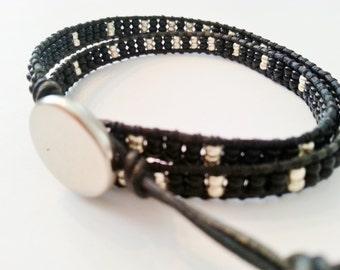 Double wrap bracelet, leather bracelet, black and silver mix seed beads bracelet