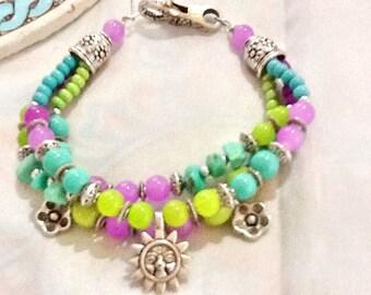 SALE---- SUNSHINE in PARIS -Bohemian -Gypsy Bracelet-South western Jewelry - Parisian-Mediterannean Style