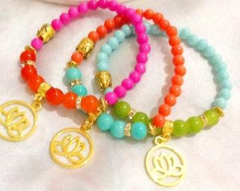 Golden lotus yoga bracelets , Buddha bracelets , meditation bracelets , chakra bracelets , healing bracelets