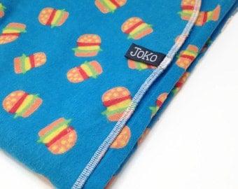 Handmade XL Flannel Receiving blanket / Swaddle blanket - Cheeseburger, hamburger, blue