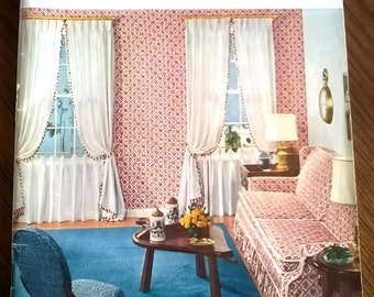 1001 Decorating Ideas - Book 17 - Vintage 1950's refernce book for home decor trends curtains parties gifts elegant swag linens + much more