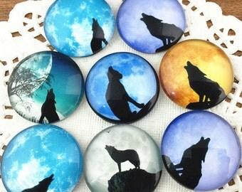 10pcs Mixed 25mm Round Handmade Photo Glass Cabochon - Wolf