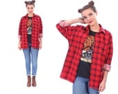 Burgundy Plaid Shirt 80s Grunge Flannel Button Down Pocket Vintage Wine RED White Checked Long Sleeve Women Men Cherry Red Medium to Large