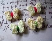 Yellow Crochet Butterfly Appliques. Set of 10 Butterflies.