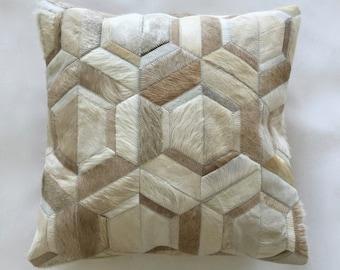 Cowhide Pillow - Cream Beige White Patchwork Cushion - 18 x 18 in