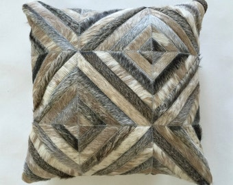 Cowhide Pillow - Grey Taupe Patchwork Cushion - 17 x 17 in