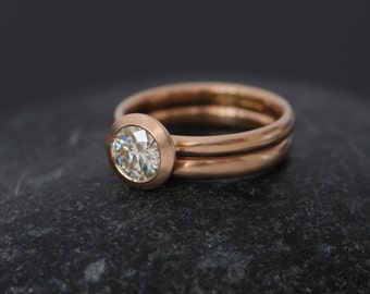 Rose Gold Moissanite Engagement Ring - Moissanite Wedding Set in 18K Gold  - Solitaire Rose Gold Moissanite Engagement Ring - FREE SHIPPING