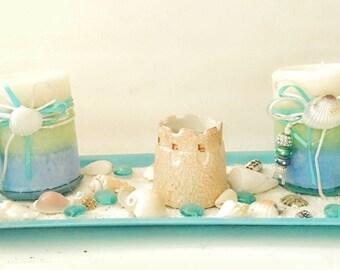 Beach candle centerpiece seashell set