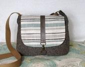 Wellington // Crossbody messenger bag // Adjustable strap // Vegan purse // Travel purse // Stripes // Ready to ship