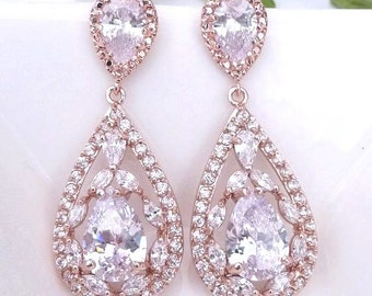 Bridal Earrings Large Fancy Rose Gold Plated Peardrop Cubic Zirconia with Rose Gold Pear Shaped CZ Post Earrings