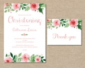 Christening Invitation, Girls Baby Babies Childrens, Thank you card set, Shabby Chic Pink Flowers Floral Watercolour – Digital file