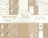 Rustic Wedding Digital Paper, Mason Jar Digital PAPER, Burlap and Lace Digital Paper, Mason Jar Digital Scrapbook Paper, #14006