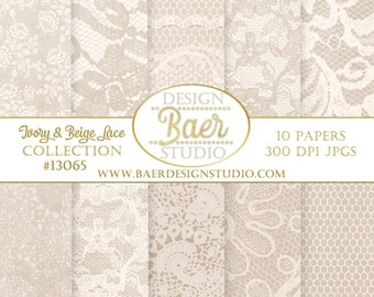 DIGITAL PAPER PACK:Taupe and Ivory Digital Paper, Digital Wedding Invitation, Hochzeitseinladung, Champagne Lace Digital Paper