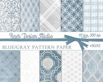 BLUE DIGITAL PAPER:Digital Paper Plaid, Blue and Gray Digital Paper, Gray Digital Paper, Indigo Digital Paper, Blue Plaid Digital Paper
