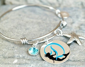 Mermaid Bracelet - Mermaid Jewelry -Mermaid Charm Bracelet - Monogram Bracelet - Nautical Bracelet - Beach Jewelry - Graduation Gift Idea