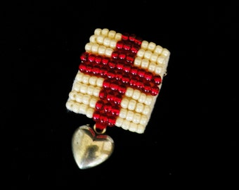 Red cross, heart medal brooch, pin. YOU DESERVE A MEDAL - real costume jewellery