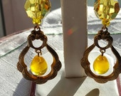 Yellow chandelier earrings brass finding vintage style with beautiful yellow large crystals and vintage yellow drops