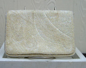 White beaded purse.