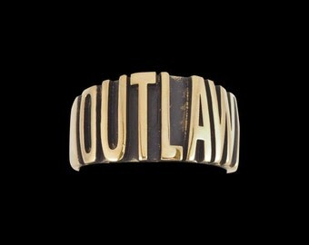 Solid Bronze Outlaw Biker Ring - Free Re-Size/Shipping