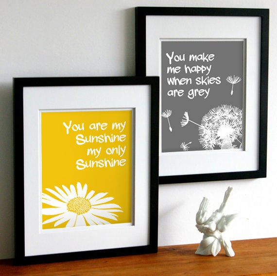 You are my sunshine my only sunshine art  - yellow and grey or custom colors - set of two art prints, girls nursery word art
