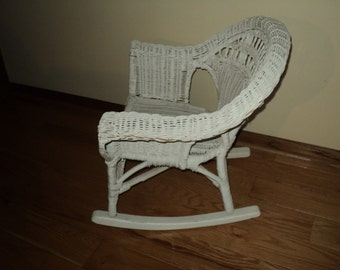 vintage white wicker rocking chair fit for a child or as doll furniture in very good - Wicker Rocking Chair