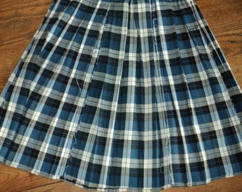 Vintage Plaid School Uniform, A Blue, White and Black Plaid Catholic School Girl's  Skirt in Vintage Condition, well made and made to last