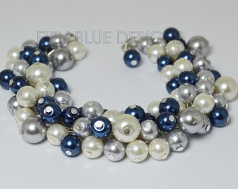 Cluster Pearl Bracelet, Blue, Gray and Ivory Pearl Bracelet, Blue Chunky Bracelet, Navy Blue and Gray Wedding Combo, Ivory Pearl Bracelet