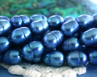 Fresh Water Pearls, Royal Blue Fresh Water Pearls, Sapphire Blue Pearl Beads, Large Rice Shape Fresh Water Pearls FWP-092