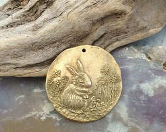 Bronze Woodland Meadow Rabbit Coin Pendant