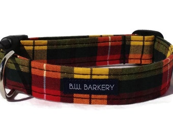 The Academic Plaid  Dog Collar for Small to Large Dogs