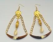 African Queen Mask Dangle Earrings