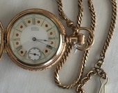 MENS WATCH American Waltham 1890 Gold Filled Vintage Pocket Watch Jeweled Face Cleaned Serviced Engraved 1891 size 6