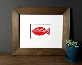 Nautical Decor - Abstract Fish Illustration - Beach Decor - Linocut Block Print - Original or Digital Print