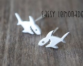 Dainty Shark Sterling Silver Post Earrings