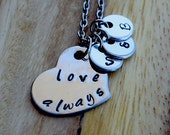Love Always Heart Personalized Initials Necklace / 2 Initial Hand Stamped Necklace