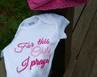 Newborn Girl Onesie & Turban with Bow Set - Custom Embroidered- Crochet Hat - Fuschia/Pink- READY TO SHIP